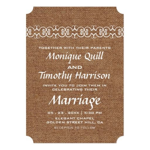 Rustic Calligraphic Faux Burlap Wedding 5x7 Paper Invitation Card by FirstFruitsDesigns