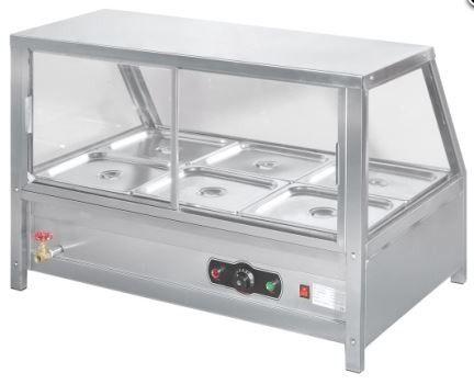 NKE Bay Square Glass Hot Food Warmer SSteel Bain Marie NEW - 3 bay electric steam table