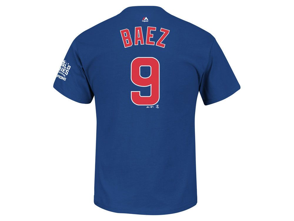 f2a77027d10 Chicago Cubs Javier Baez MLB Men's 2016 World Series Champ Patch Player  T-Shirt