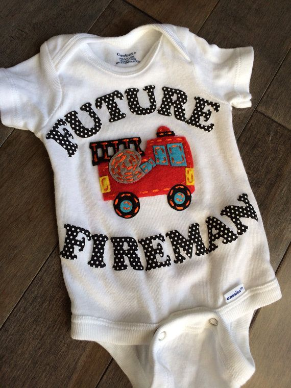 Little Fireman - Fireman baby - future Fireman - Pregnancy Announcement - New baby onesie on Etsy, $23.99