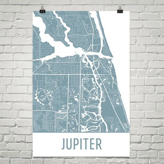 Map Jupiter Florida.Jupiter Fl Street Map Poster My Home Town Map Art Map Art