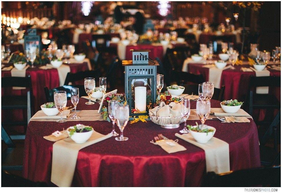 Oversize Lanterns And Burgundy Tablecloths Added Beauty