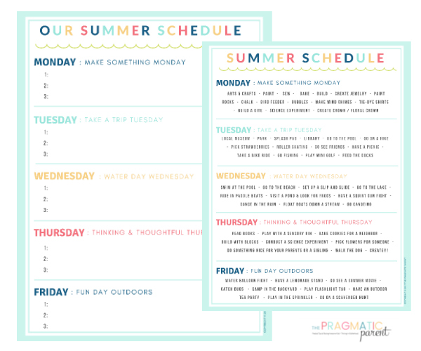 Creating a Summer Schedule for Kids #summerschedule