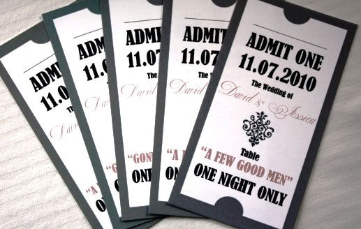 movie ticket place cards, theatre ticket escort cards These movie - printable movie ticket template