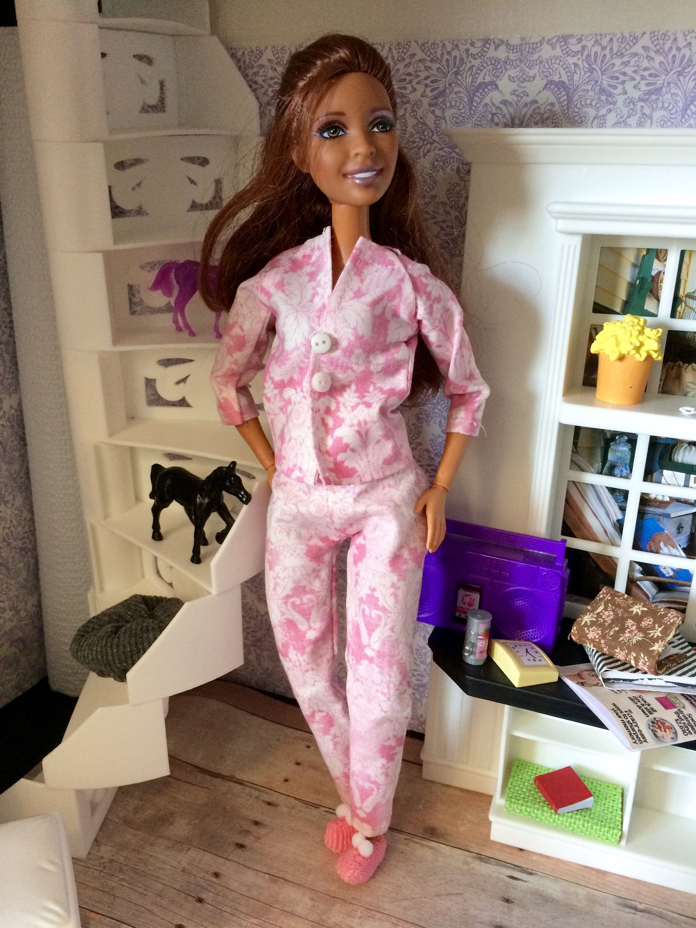 Two Tone Green w// Pink Flowers Long Sleeve Genuine BARBIE Jacket Clothes CUTE