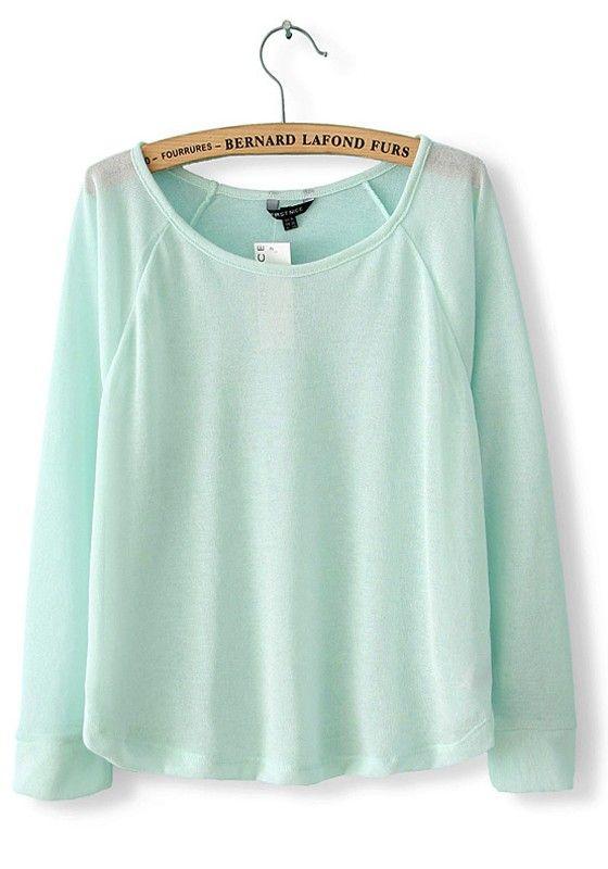 Green Plain Round Neck Long Sleeve Dacron T-shirt