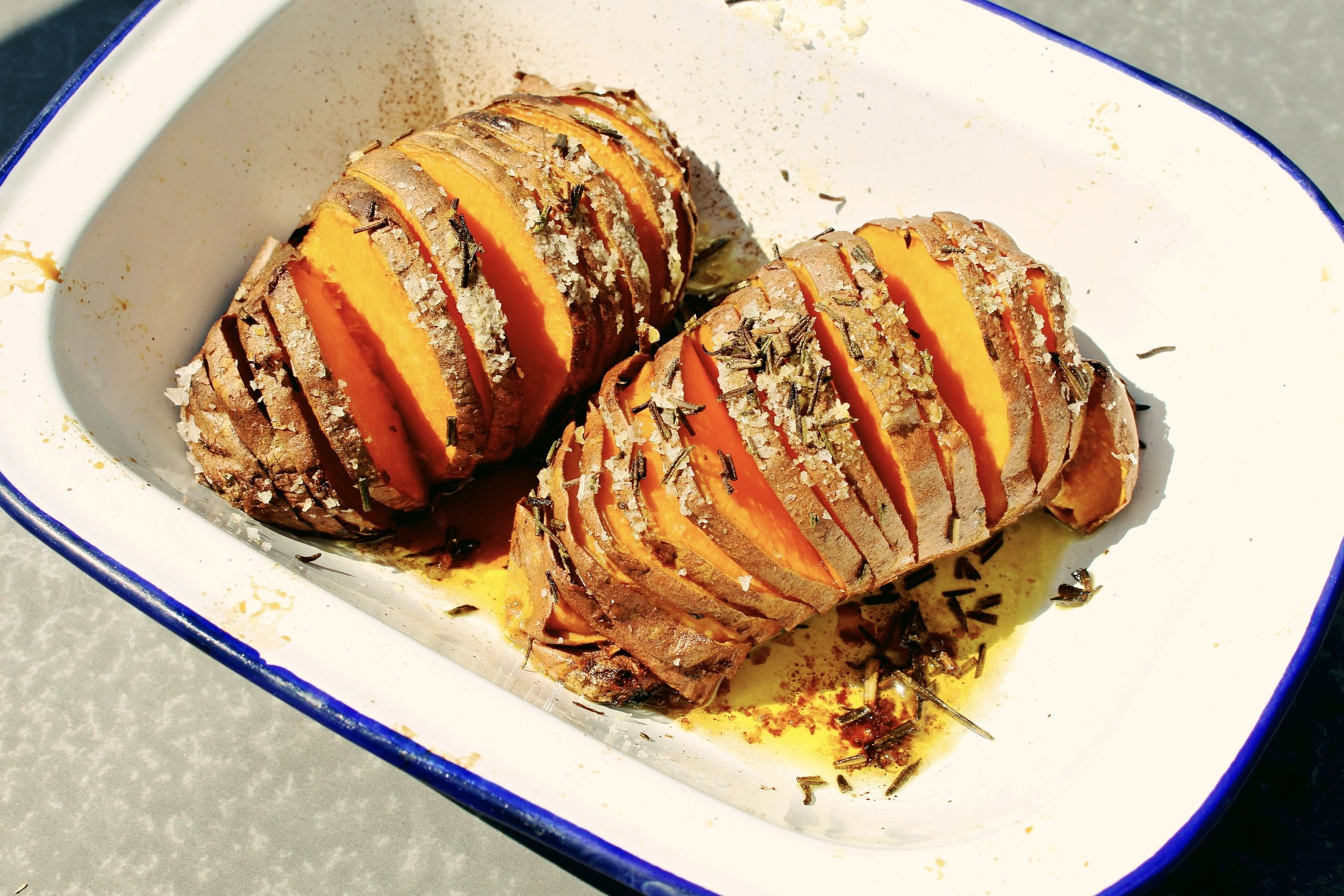 Hasselback Sweet Potato.