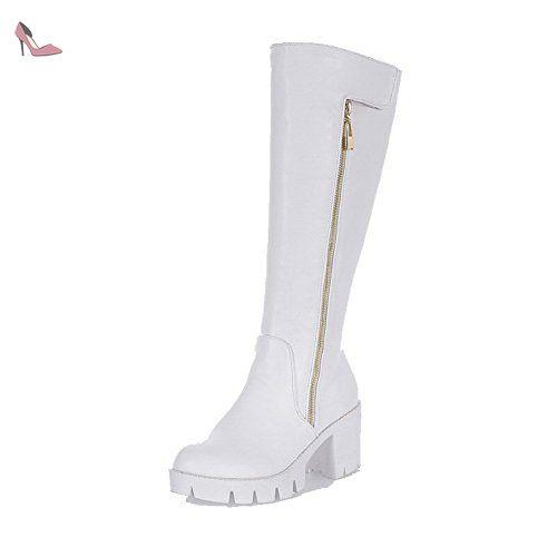 VogueZone009 Femme Haut Élevé Zip à Talon Haut Rond Bottes, Blanc, 38 ,  Chaussures