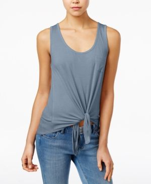 Rebellious One Juniors' High-Low Tie-Hem Tank Top - Blue XL