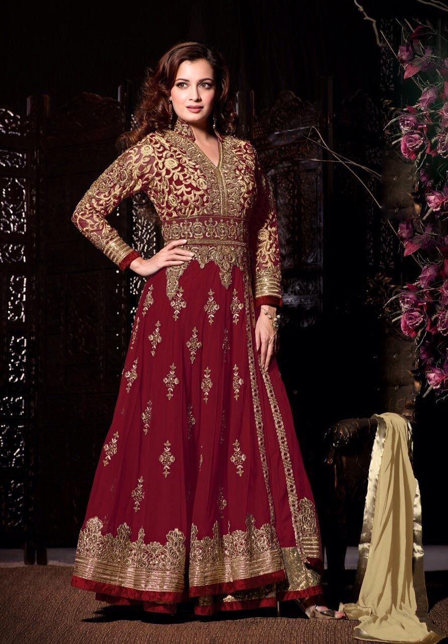 873af5b006 Maroon Dia Mirza Designer Wedding Anarkali Suit from Haya Creations ...