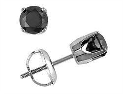 Mens Diamond Stud 14k White Gold Men S Black Earring 3 4 Ct
