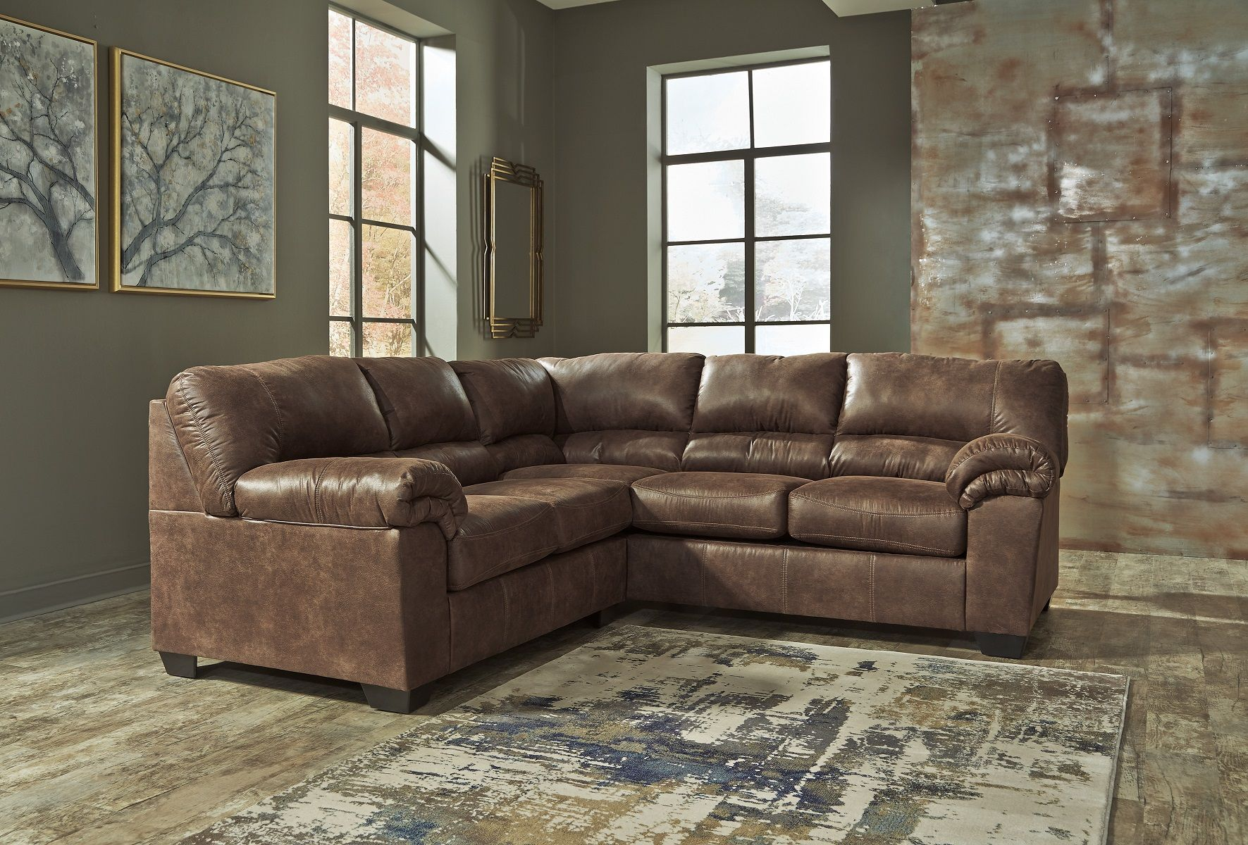 Lovely Bladen Ashley Sofa Sectional Contemporary Faux Leather Coffee Brown
