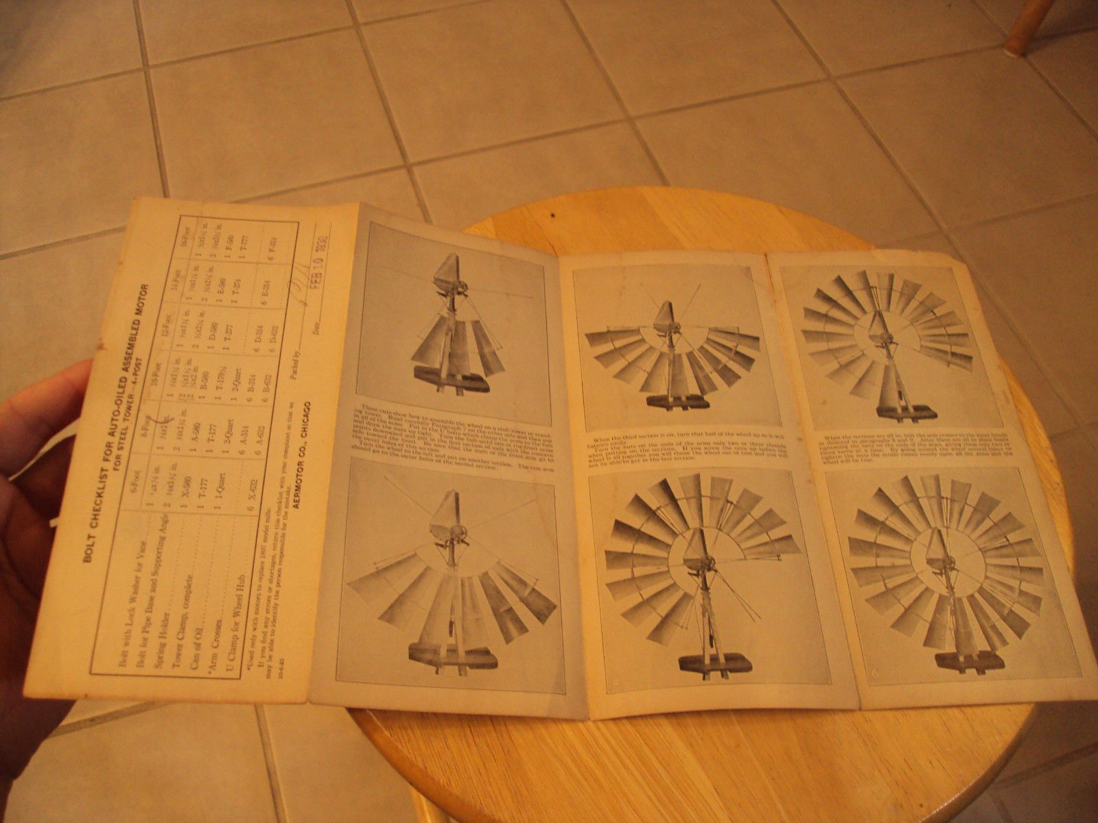 rare 1930 assembly instructions the aermotor windmill company ephemera paper ebay [ 1600 x 1200 Pixel ]