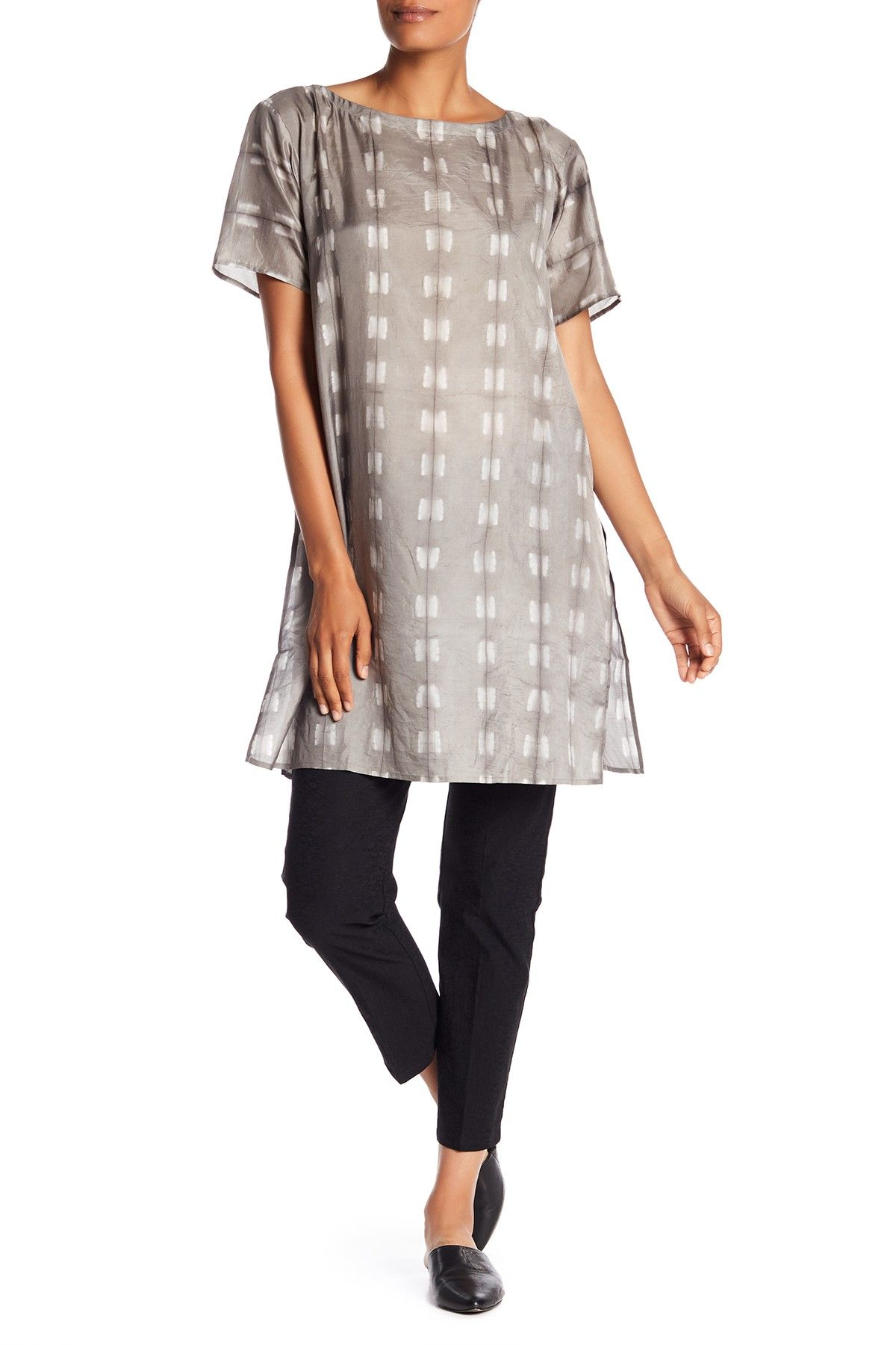 3fd136f6 Eileen Fisher - Short Sleeve Print Silk Tunic is now -17-53% off. Free  Shipping on orders over $100.