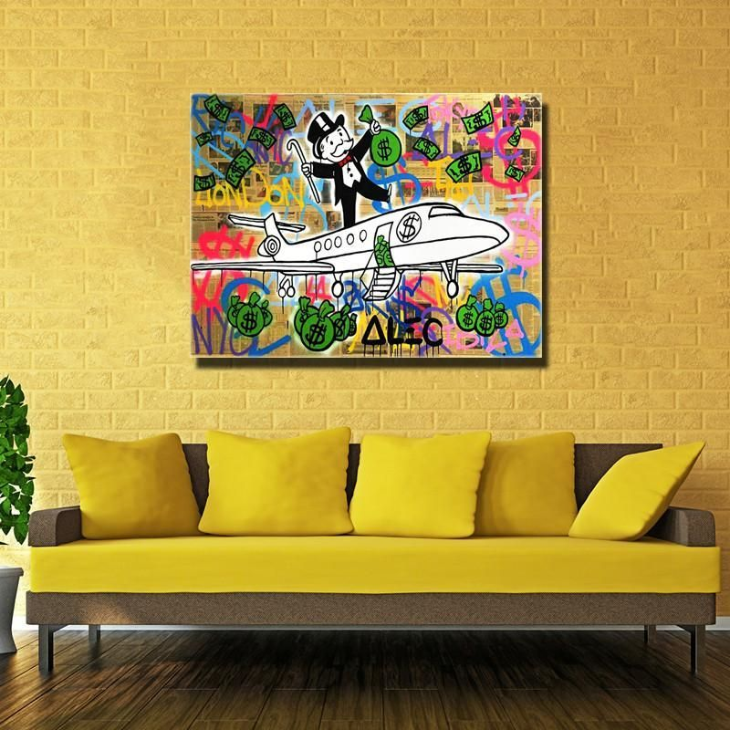 1 pcs Graffiti painting Fly Money By Alec Monopoly Wall Decorate ...