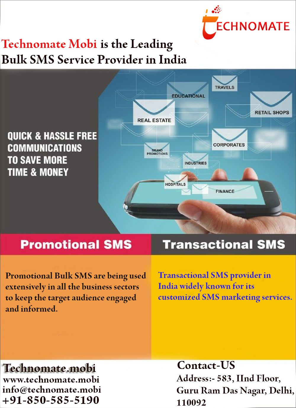 Technomate Mobi is a leading provider of bulk SMS Services in Delhi