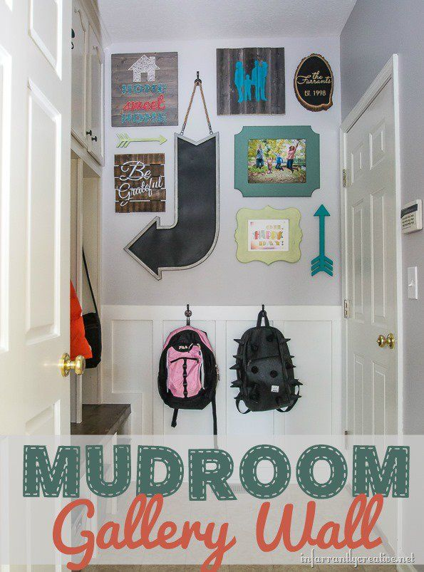Mudroom Gallery Wall made with Custom DIY Art | Mudroom, Gallery ...