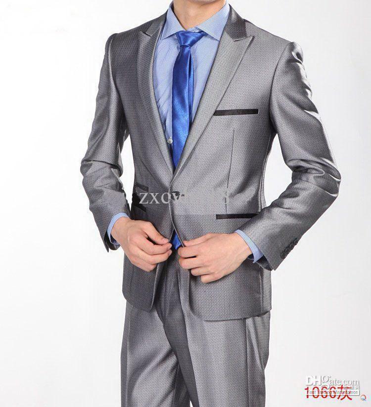 Vogue One Button Silver Gray Slim Men\'s Suits Men Suits For ...