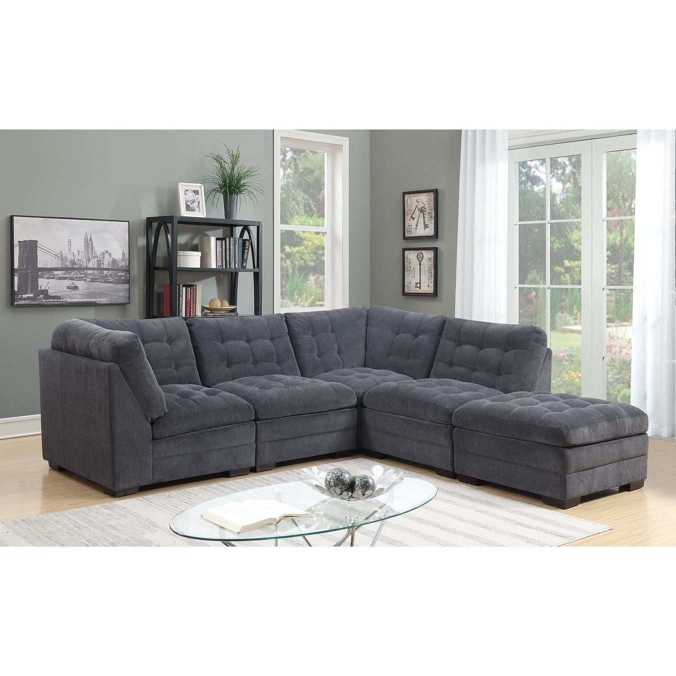 Best Morrison Contemporary Modular 4 Piece Sectional Charcoal 400 x 300