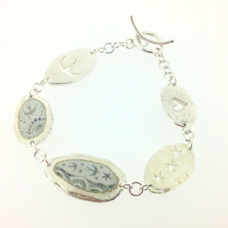 Silver bird bracelet swallows swifts flying enamel blue and