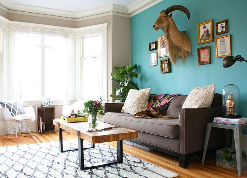 Hot Color Trends Coral Teal Eggplant And More Living Room Turquoise Accent Walls In Living Room Eclectic Living Room #teal #wall #decor #for #living #room