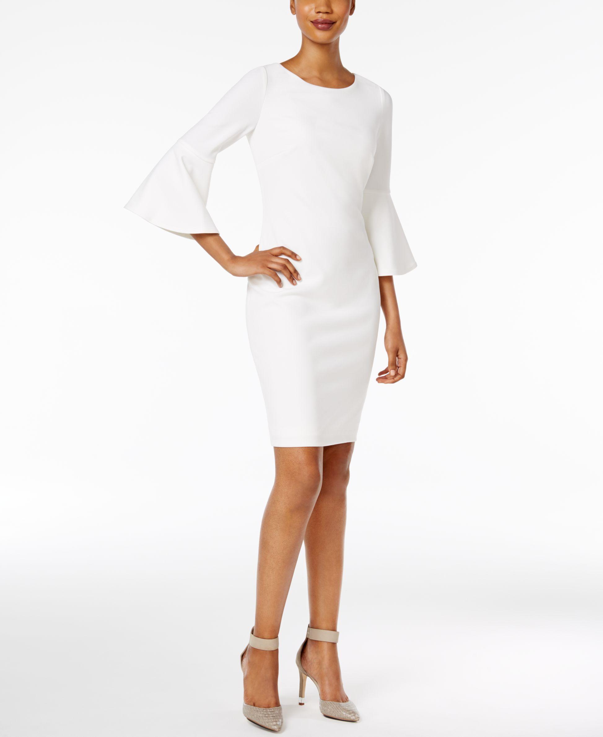 Calvin Klein Petite Bell Sleeve Sheath Dress White Sheath Dress Bell Sleeve Dress Lace Bell Sleeve Dress