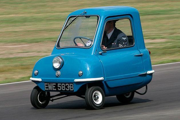 Ingen biler har indtil nu været mindre end den tre-hjulede Peel P50. No cars has until now been smaller than the three-wheeled Peel P50.
