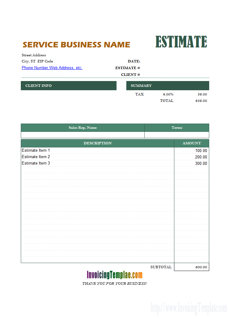 General Estimate Format Estimate Template Proposal Templates Invoice Template