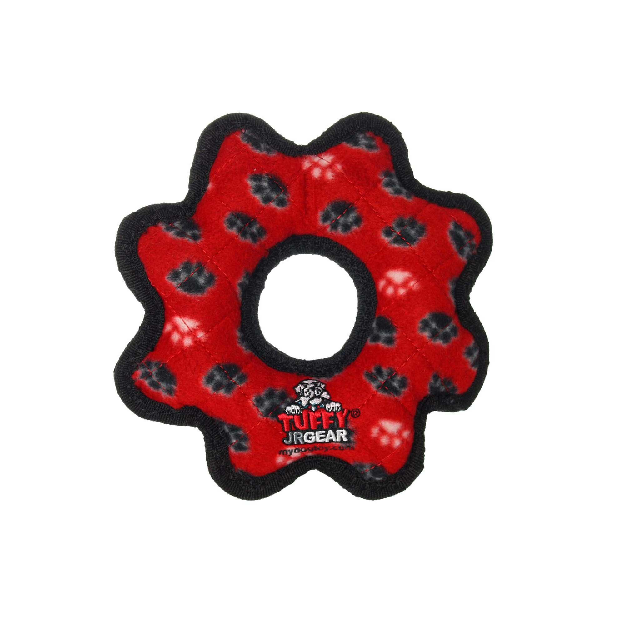 Tuffy S Red Paw Print Jr Gear Ring Tug Dog Toy Small Dog Toys