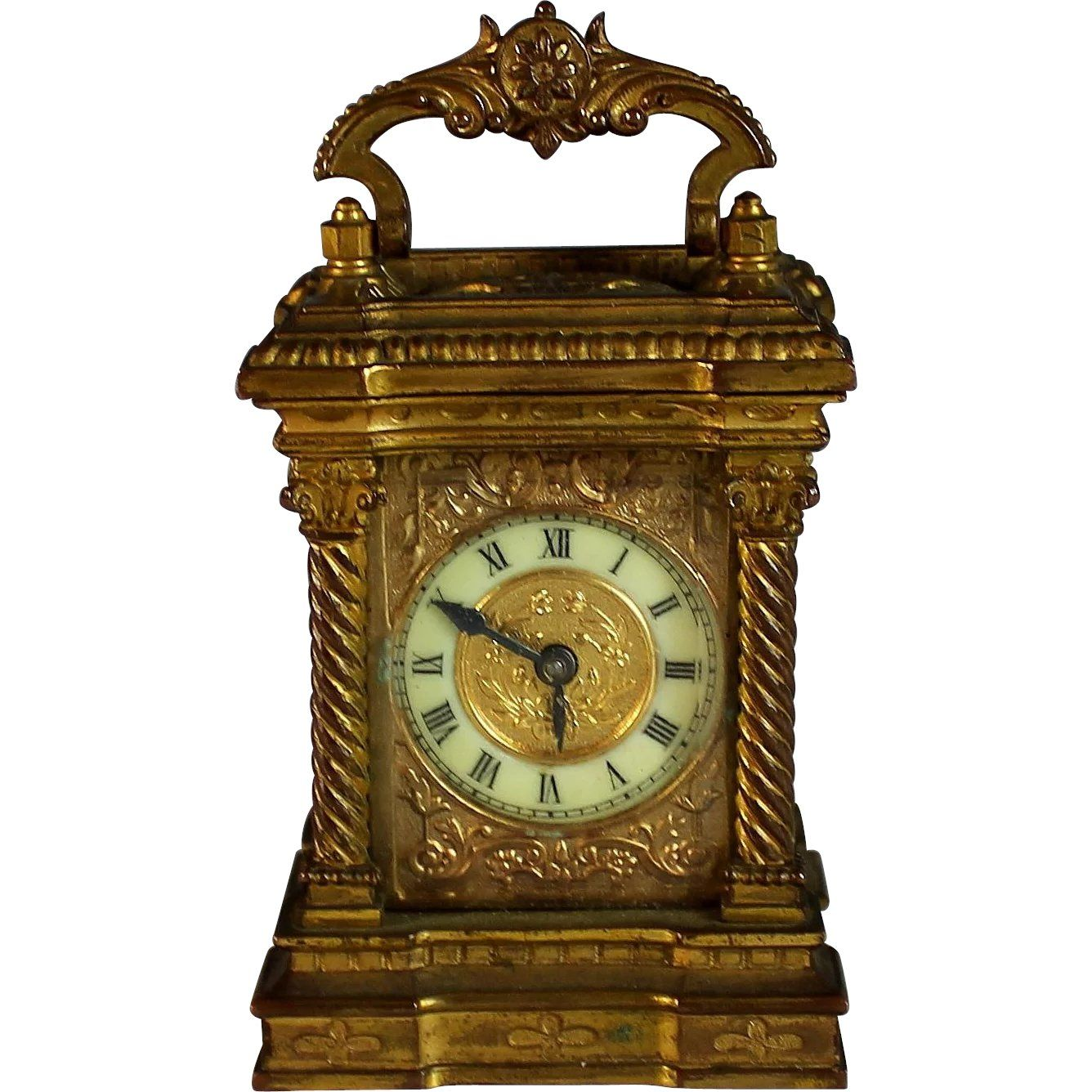Beautiful Antique French Ormolu Traveling Clock Cased Vintage