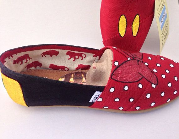 Custom Hand Painted Mickey and Minnie Bow by Iheartpaintingtoms