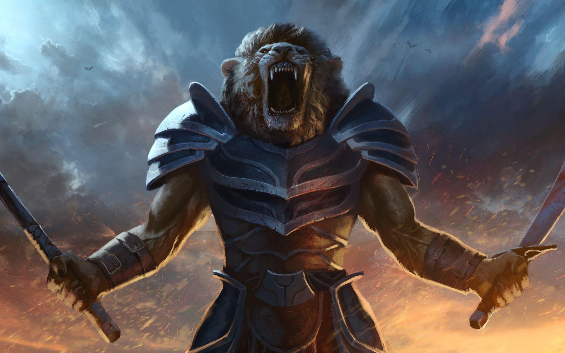 Download 1920x1200 wallpaper Battle, cry lion, artwork