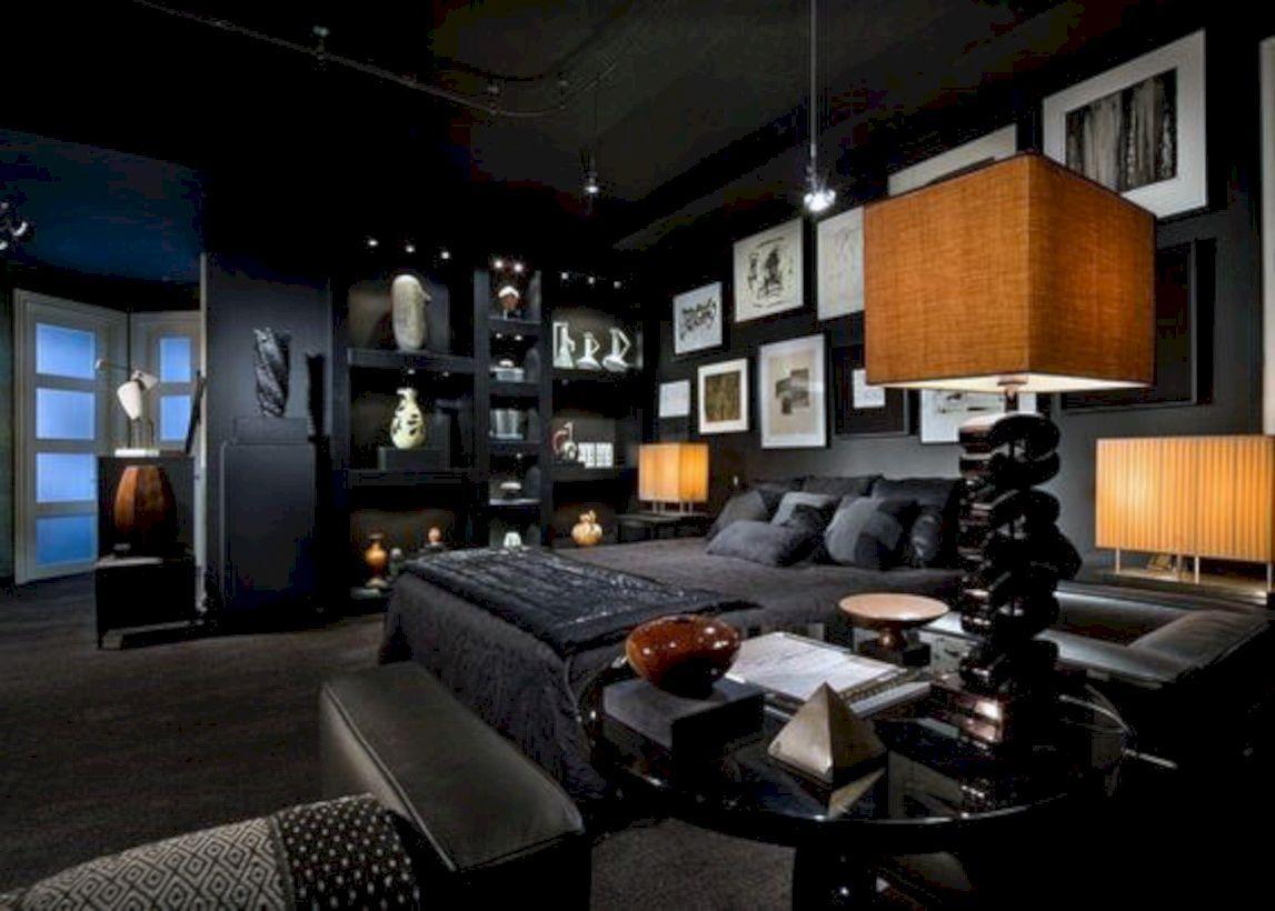 Nice 54 Men S Bachelor Pad Decor Ideas For A Modern Look Black Bedroom Design Masculine Bedroom Decor Masculine Bedroom Design