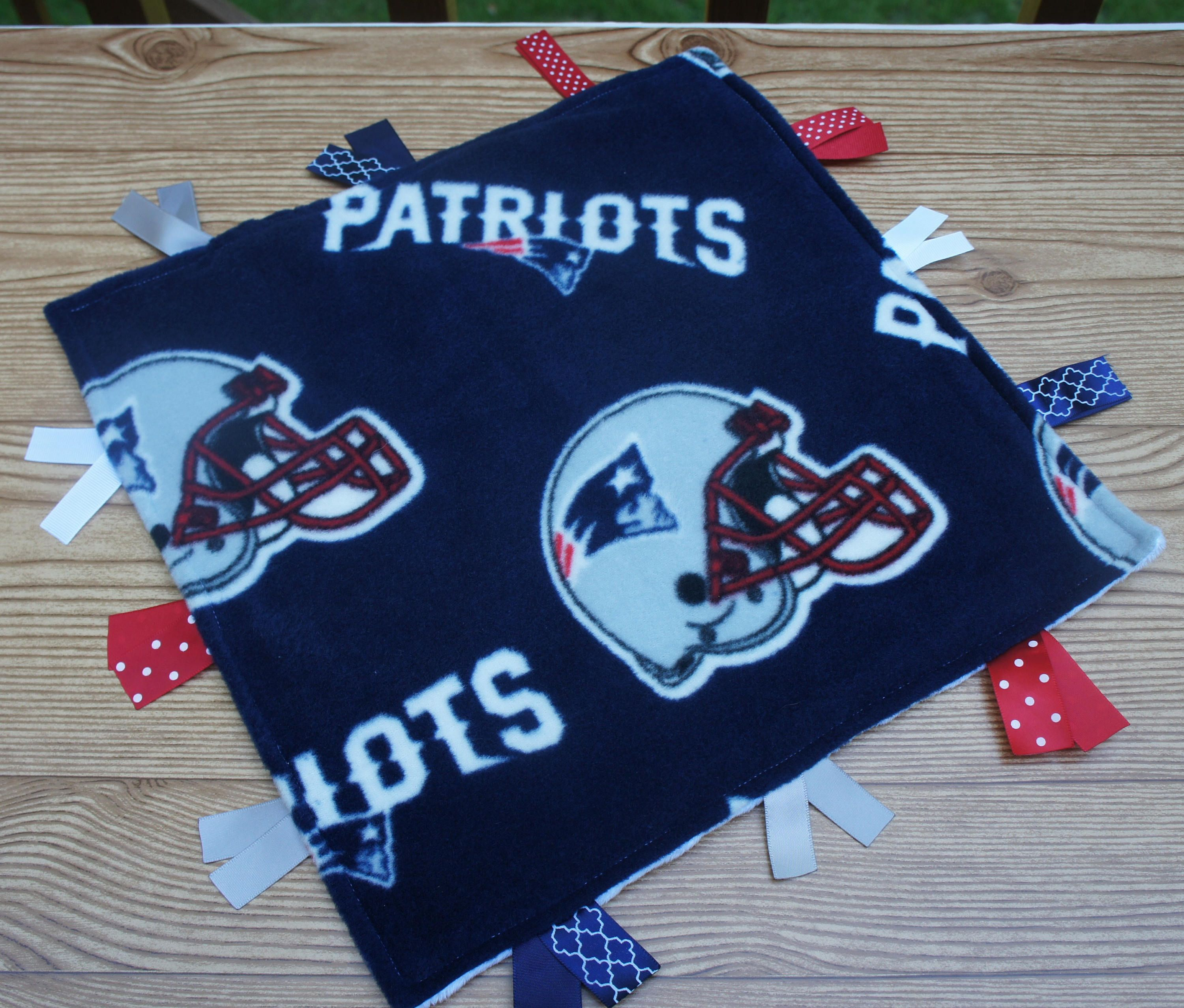 best website df416 043a8 New England Patriots Baby Blanket Ribbon Tag Personalized ...