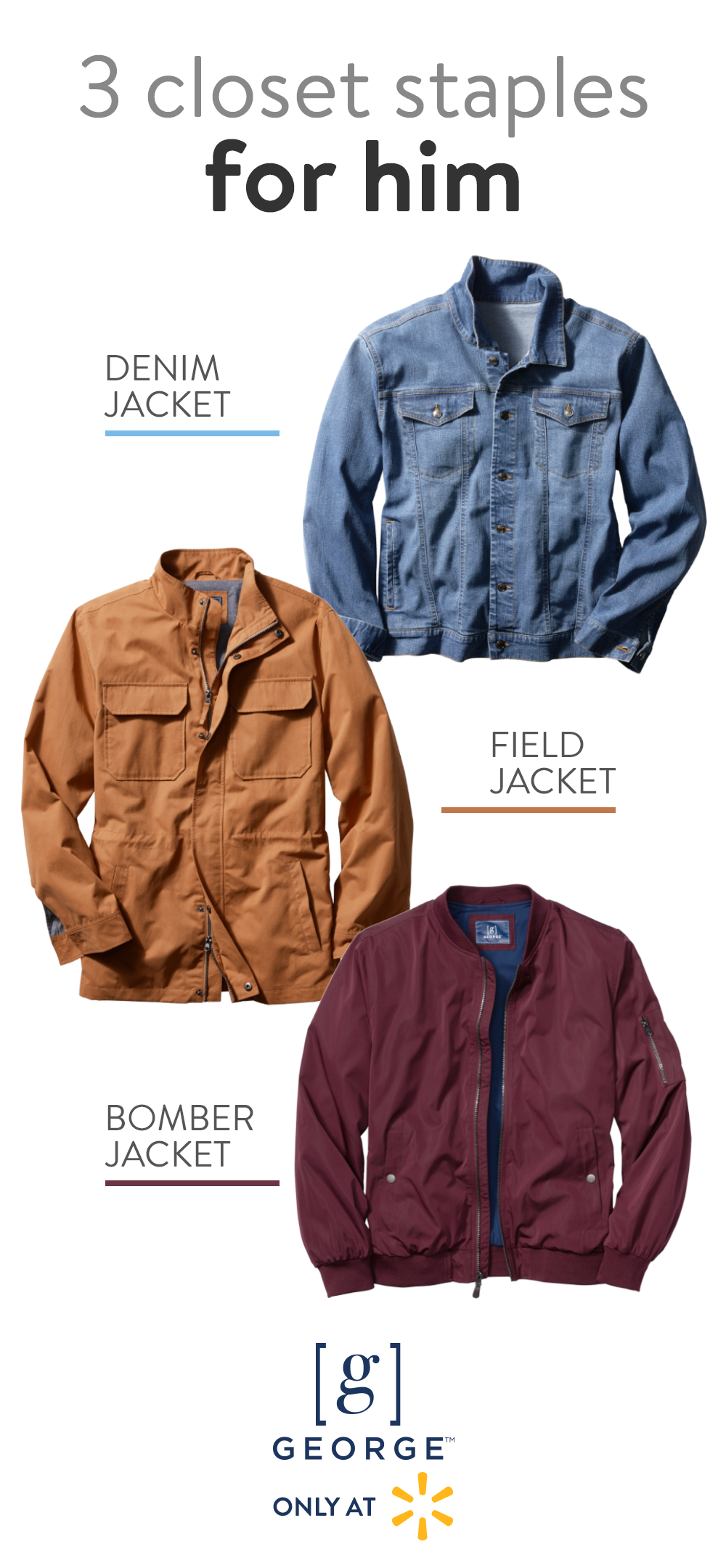 Get A Jacket For Every Adventure With George Only At Walmart These Three Styles Denim Field And Bomber Will Comp Jackets Only At Walmart Walmart Fashion [ 2160 x 1000 Pixel ]