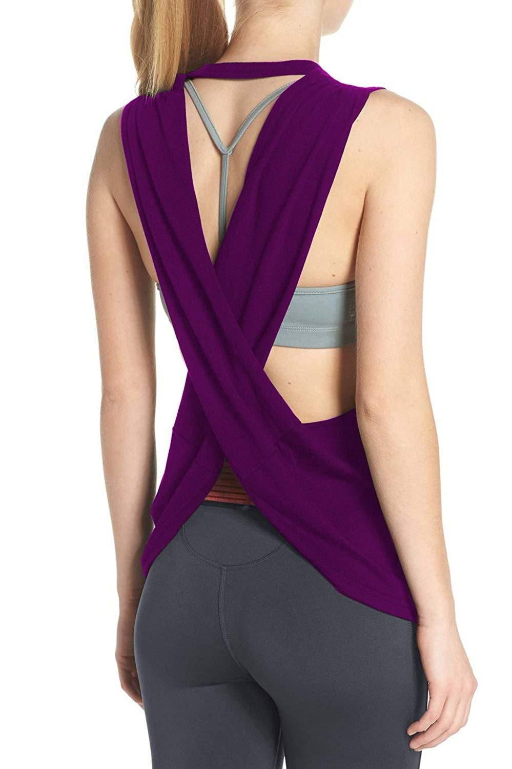 97c197a1271 Duppoly Sport Tank Top Cross Back Yoga Shirt Cute Running Gym Activewear Workout  Clothes