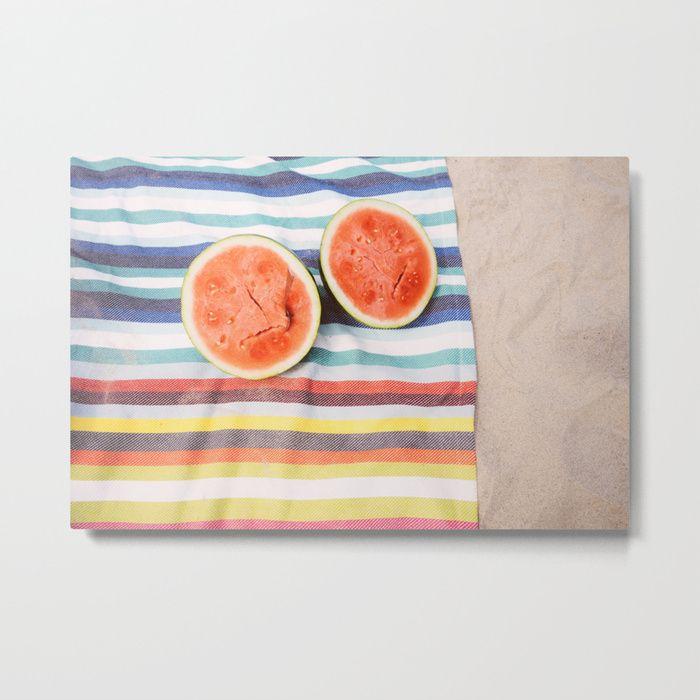 Buy Beach Watermelon Metal Print By Newburydesigns