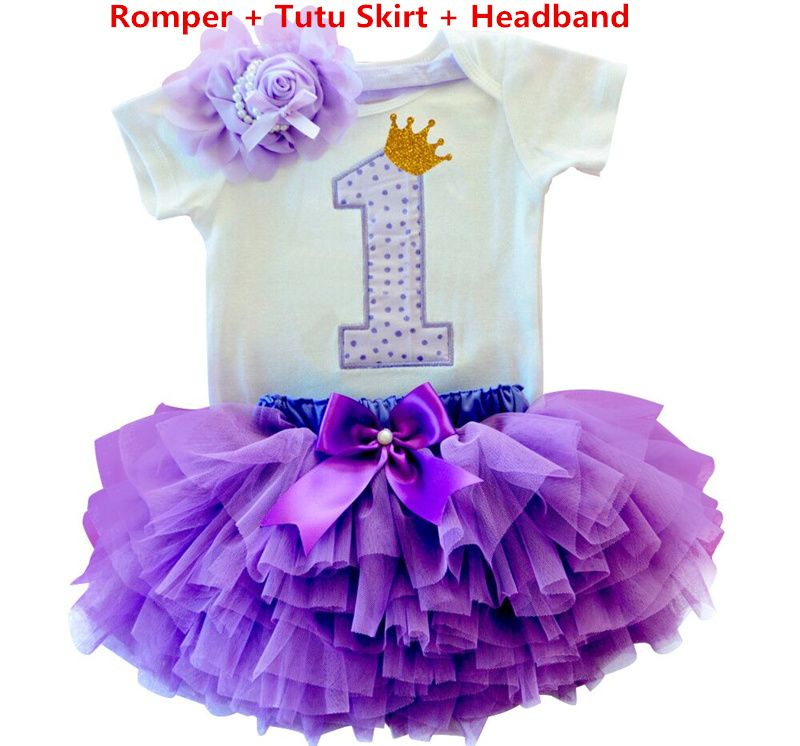 Newborn Infant Baby Girl Birthday Tutu Bow Clothes Party Jumpsuit Princess Dress