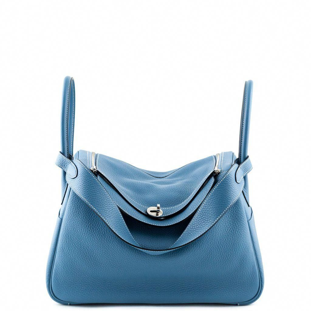 06aeec38306c Hermes Blue Jeans Clemence Taurillon Lindy 34 - LOVE that BAG - Preowned  Authentic Designer Handbags