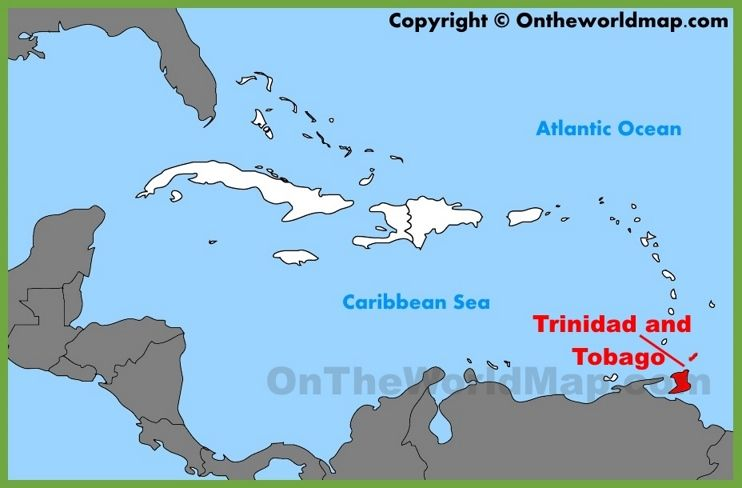 Trinidad And Tobago Location On The Caribbean Map Maps - Aruba on map compared to the us