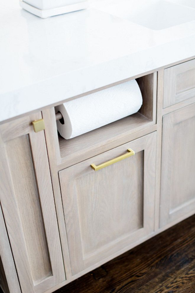 Built in paper towel holder. Kitchen island cabinet with ...