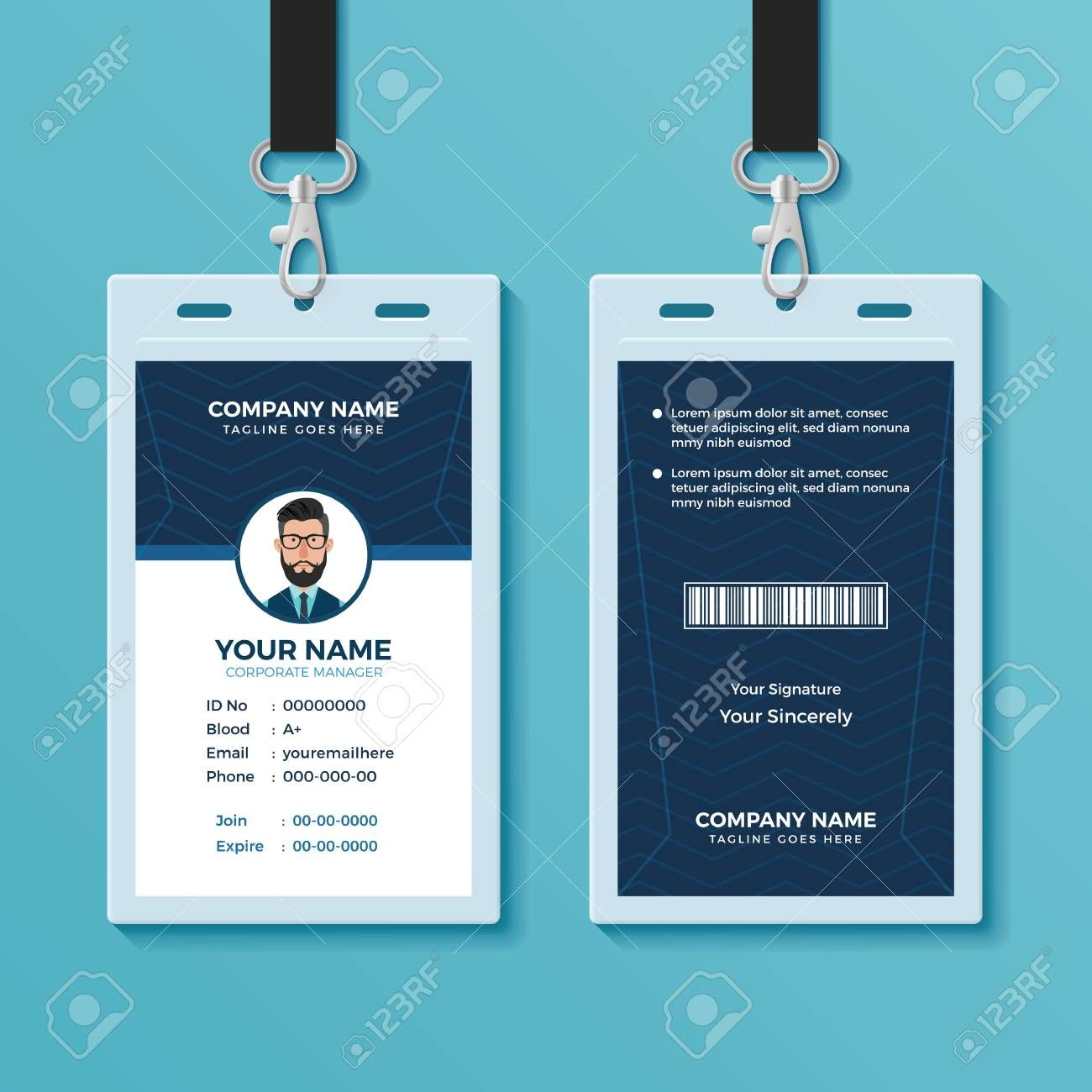 Modern And Clean Id Card Design Template For Portrait Id Card Template Best Business Templates Id Card Template Design Template Identity Card Design