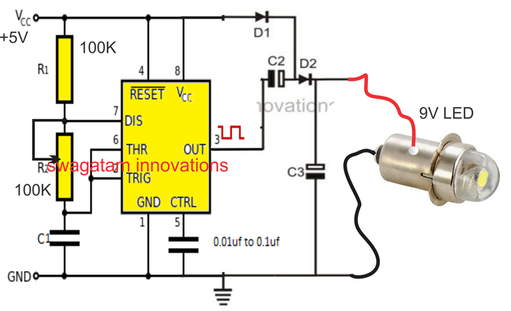 IC 555 Voltage Doubler Circuit | idea in 2019 | Electronics projects
