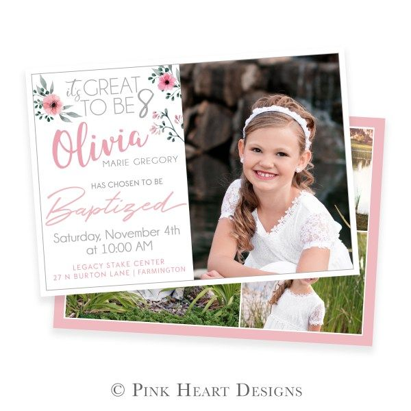 LDS Baptism Invitation   Girl Baptism Invitation   Templates For  Photographers