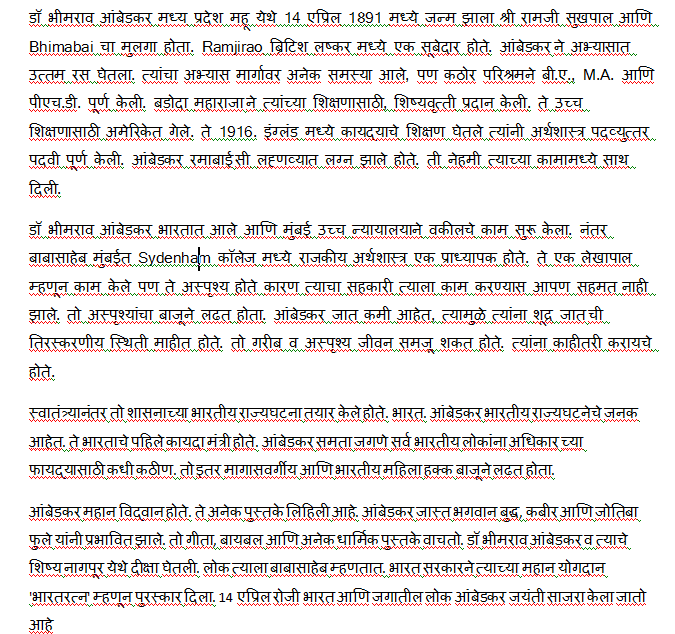 Short essay on babasaheb ambedkar in marathi