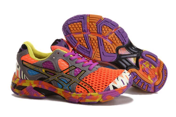 Asics Gel Noosa Tri 7 Women's Running Shoes Neon Orange Dark Grey Purple  Yellow