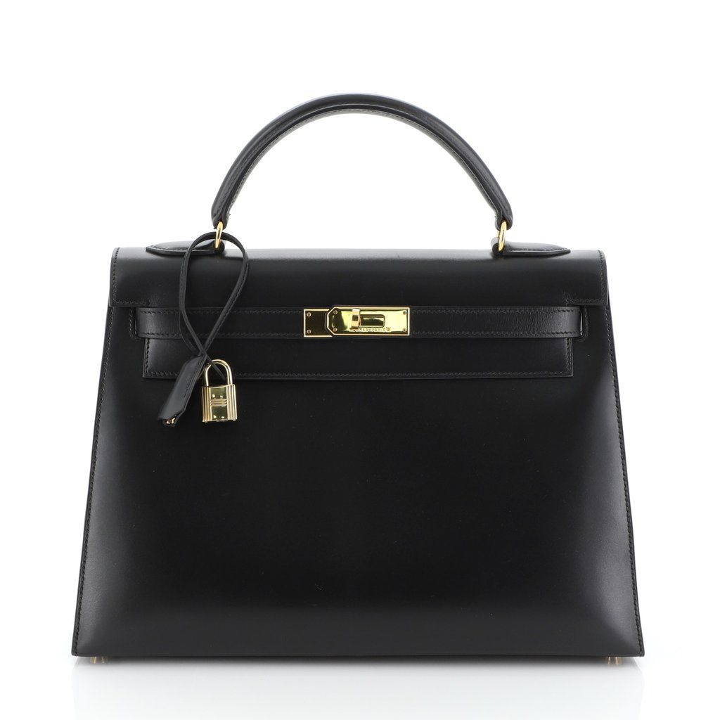 Photo of Hermes Kelly Handbag Black Box Calf with Gold Hardware 32 Black 47661191