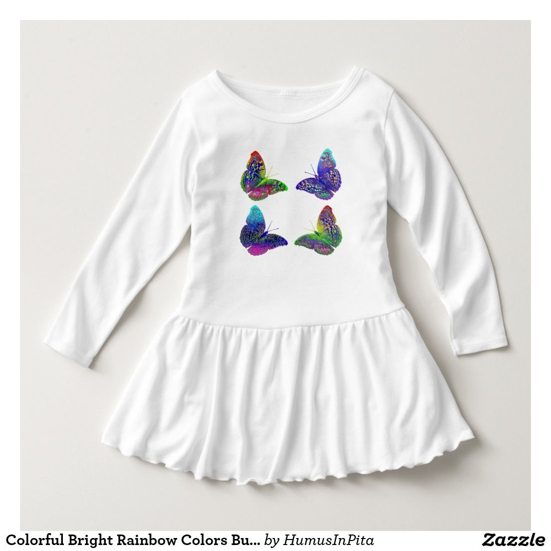 23d3847f34318 Colorful Bright Rainbow Colors Butterflies Drawing Dress | Zazzle ...