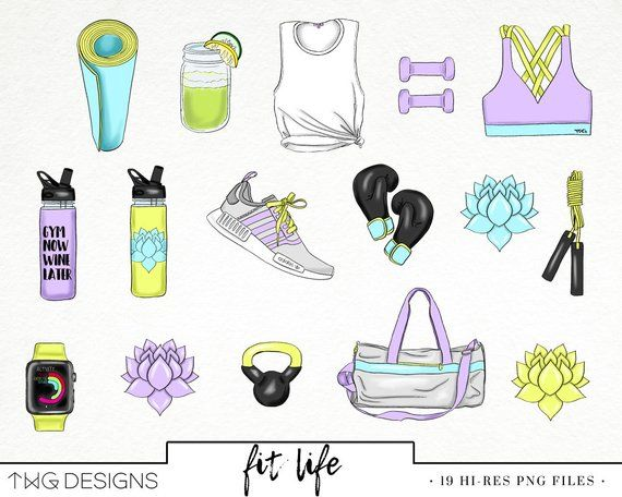 Fitness Fashion Girl Clip Art Watercolor Clipart PNG Workout Gym Style Hand Drawn Babe Illustration