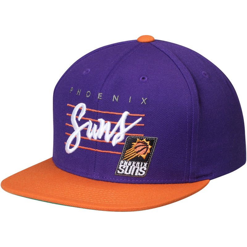 sports shoes 13df7 a28ca Phoenix Suns Mitchell   Ness Cursive Script Logo Adjustable Snapback Hat -  Purple Orange